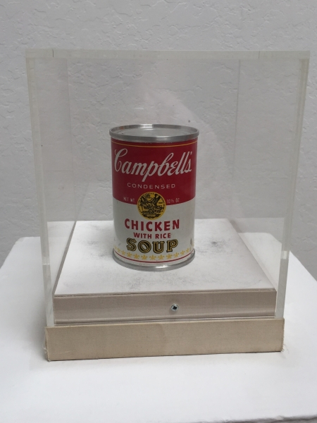 Andy Warhol, Campbell's Soup Can, Chicken with Rice, 1966, Aluminum with Decal 4 x 2, 58 inches, Edition of 13 Courtesy of The Foster Goldstrom Collection