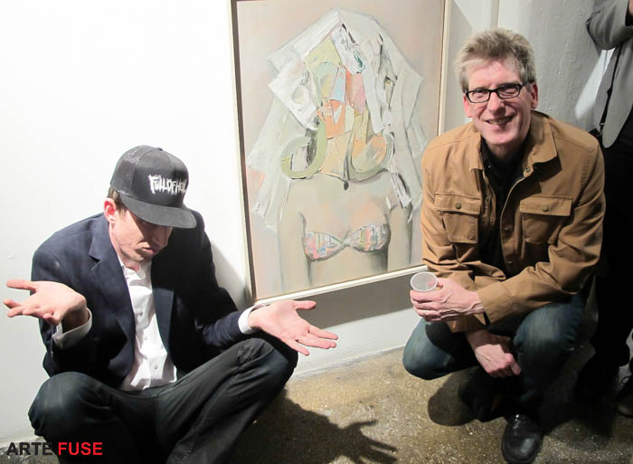 (L-R) Gallerist Casey Glenhorn and artist Mike Cockrill next to his painting