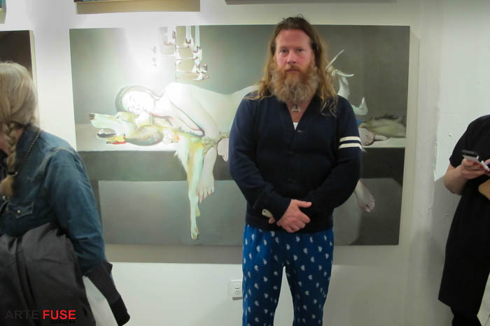 Artist and curator Gregory de la Haba infront of his work