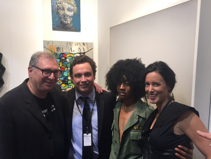 (L-R) Collector Foster Goldstrom with curator Mateo Mize, Leslie Thiele and Gallerist Tara Himler Schon
