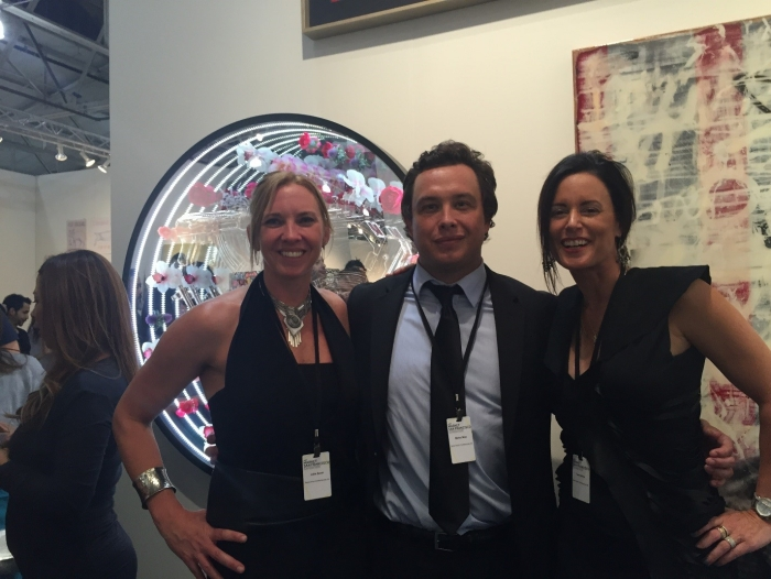 (L-R) Gallerist Julie Zener with curator Mateo Mize and gallerist Tara Schon at their successful booth for Art Market San Francisco