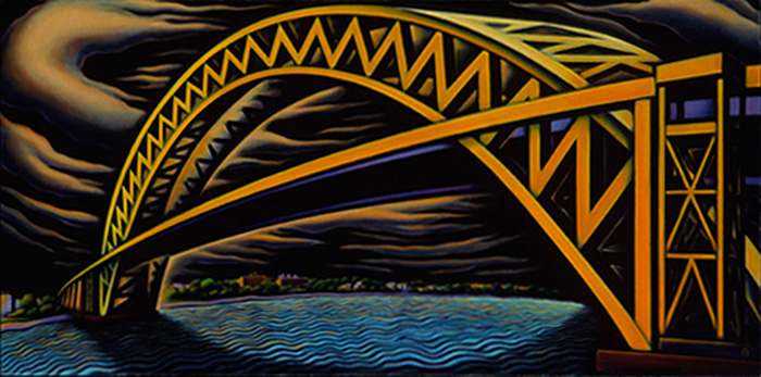 "Bayonne Bridge II, 2003. oil on canvas 26"" x 52"""