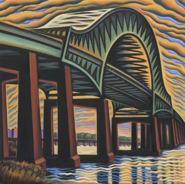 """Casciano Memorial Bridge, 2003. oil on canvas 30"""" x 30"""""""