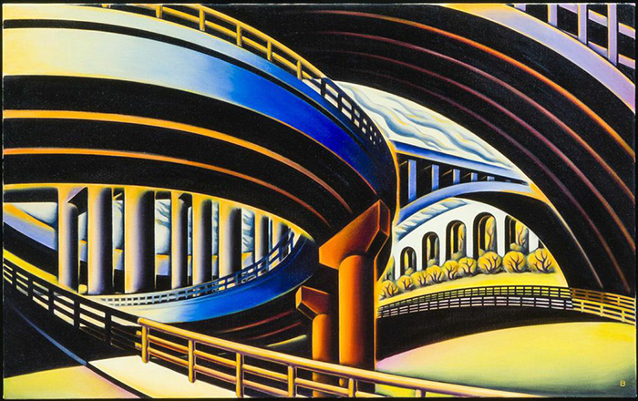 "Harlem River Bridges III, 1998. oil on canvas, 30"" x 48"""