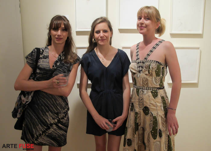 Curator (R) Sarah Crown with guests