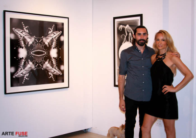 (L-R) Artists Joseph Wolf Grazi and Indira Cesarine at the opening.