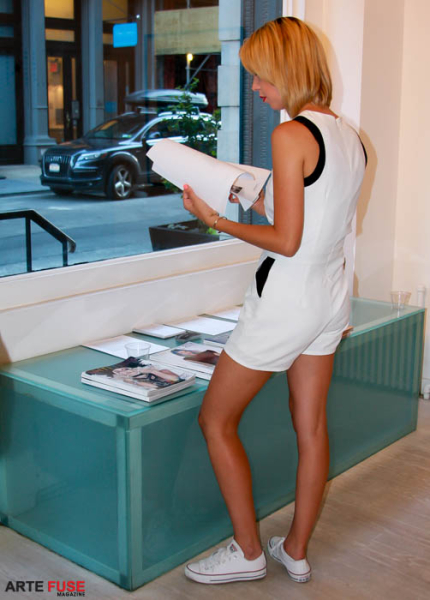 A guest checking out Untitled Magazine.
