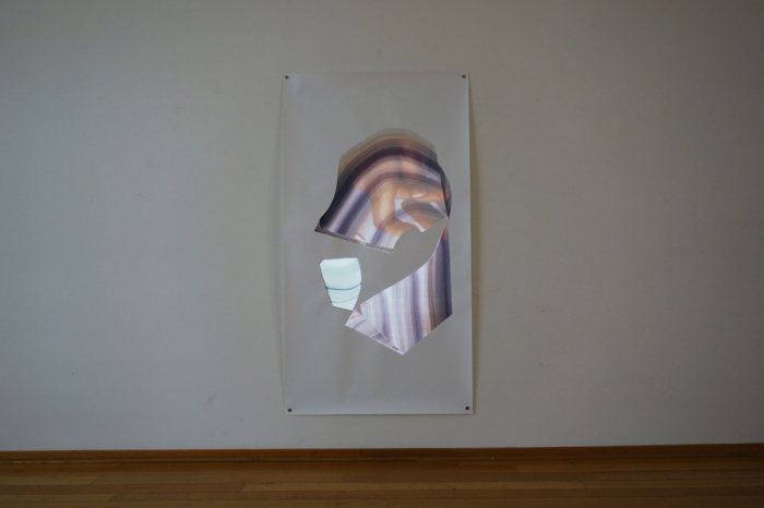 Julia Lia Walter, handling the cicumstances, video installation, watercolor on paper, projection, 195 x 106 cm, 2015