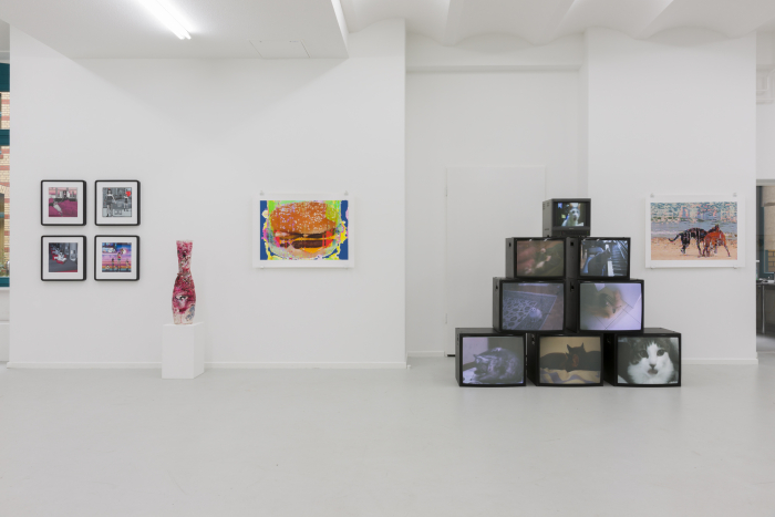 "Exhibition view ""PORN TO PIZZA– Domestic Clichés"", 2015, works by: Carla Gannis, Lindsay Lawson, Paul Hertz, Faith Holland / DAM Gallery, Berlin / Photo © Marcus Schneider"