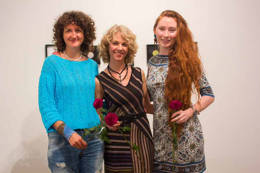 (L-R) Artists Nadine Faraj, Patty Horing and Alonsa Guevara