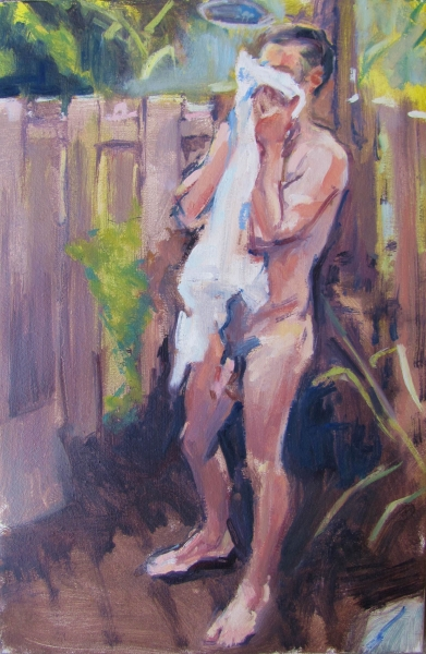 """Outdoor Shower"", 2012-2014, oil on canvas, 18""x 12"""