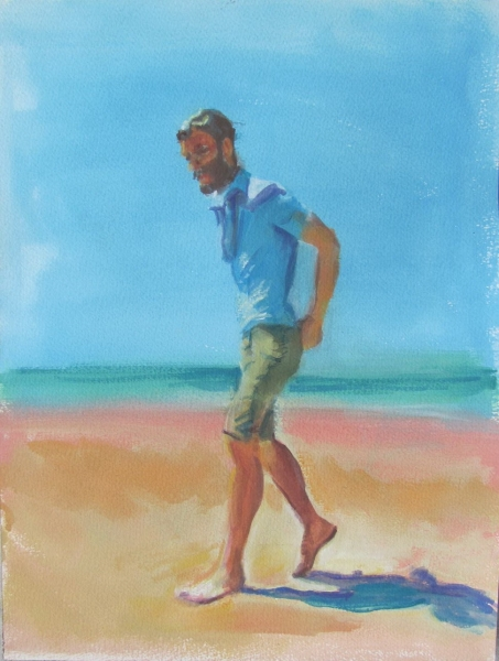 """Beach Stroll"", 2015, gouache on paper, 16 1/4"" x 12 1/4"""