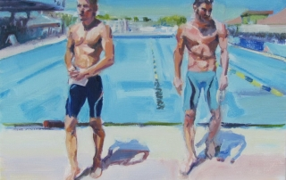 """""""Two Swimmers"""", 2015, oil on canvas, 14"""" x 18"""""""