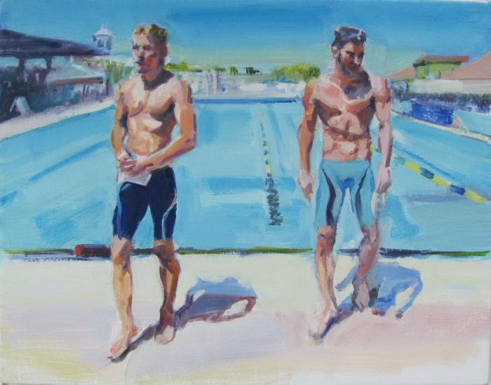 """Two Swimmers"", 2015, oil on canvas, 14"" x 18"""