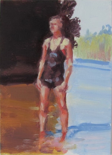 """Wading in the Lake"", 2015. oil on board, 7"" x 5"""