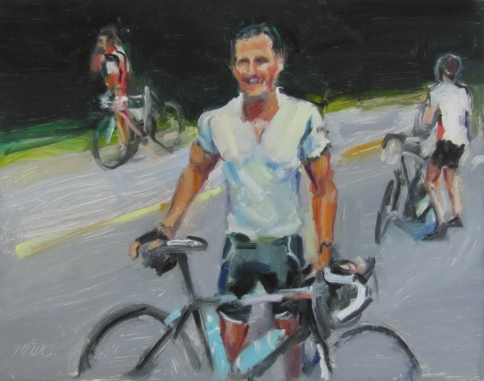 """3 Cyclists"", 2015, oil on board, 11"" x 14"""
