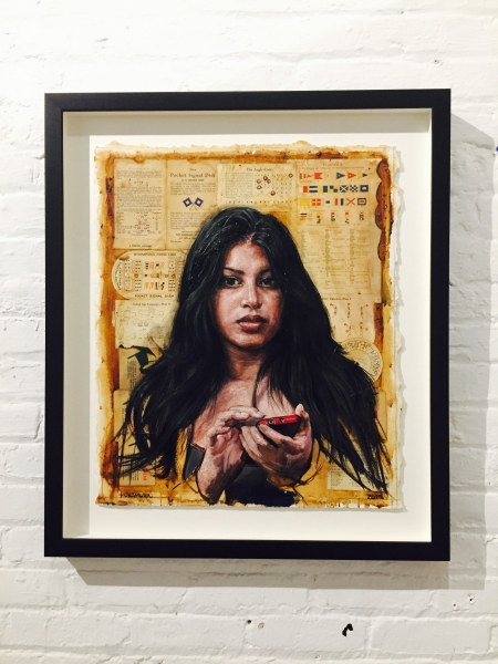 "Code Breaker by Tim Okamura, 23.5"" x 19.5"", Oil and Mixed Media on Paper"