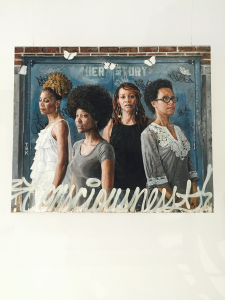 "Her Story by Tim Okamura, 60"" x 72"", Oil and Mixed Media on Canvas"