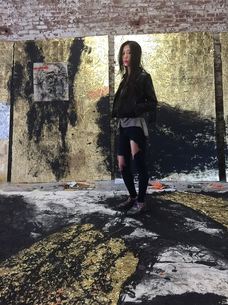 Artist Hyon Gyon at her studio