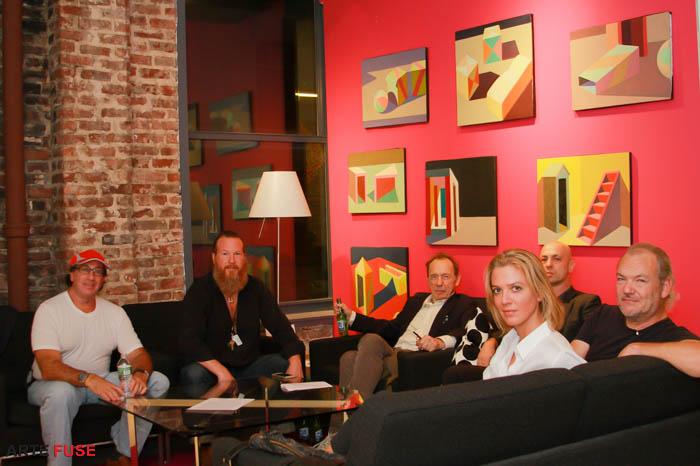 (L-R) Art Dealer Neil Morris, Artist/Curator Gregory de la Haba, Cartoonist Anthony Haden Guest, Collector Amir Almog, Photographer Bryan Thatcher and Curator Laetitia Lina.
