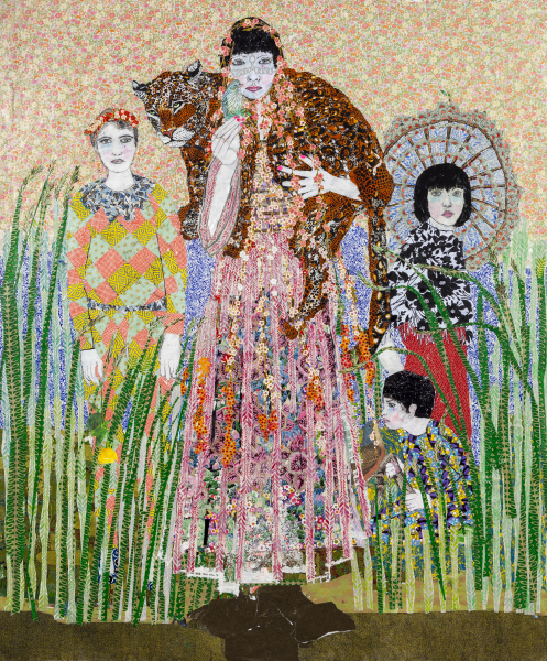 Maria Berrio, Born Again, 2015, mixed media on canvas