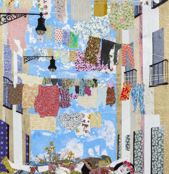 Maria Berrio, Knitting the Wind, 2015, mixed media on canvas
