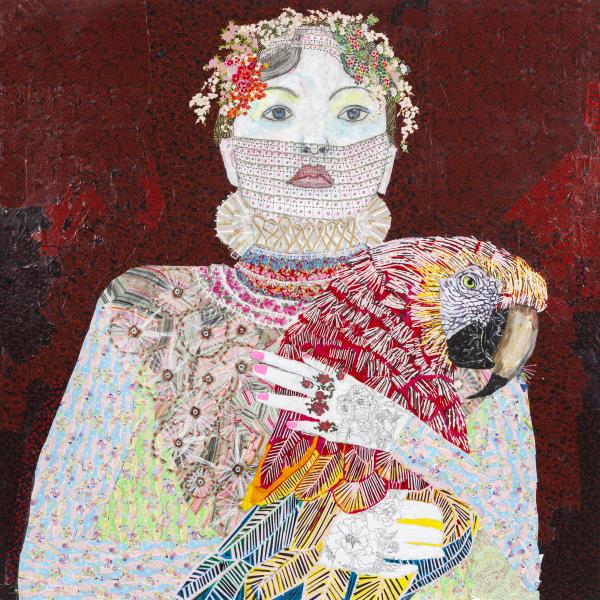 Maria Berrio, The Lovers 1, 2015, mixed media on canvas