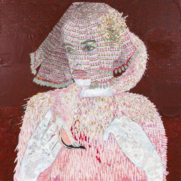 Maria Berrio, The Lovers 2, 2015, mixed media on canvas