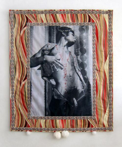 Jonny Star, Free Your Soul 7, 2015, phototransfer on fabric, fabric, Swarovski beads, fur, mixed media, 140 x 113 x 8 cm, 2015 / courtesy the artist