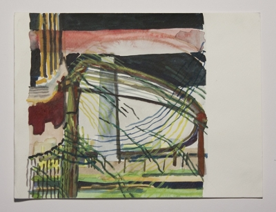 "Claudia Chaseling, ""Land Escape"", watercolor on paper, 8.26""x11.41"", 2007, courtesy Molly Krom gallery"