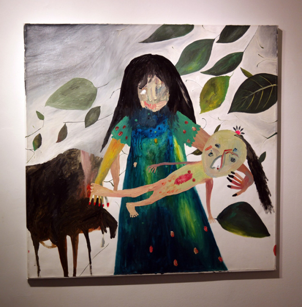 "Silvia Mei, ""Autoritratto Con Mia Figlia,"" oil on canvas, 39.4""x39.4"", 2012"