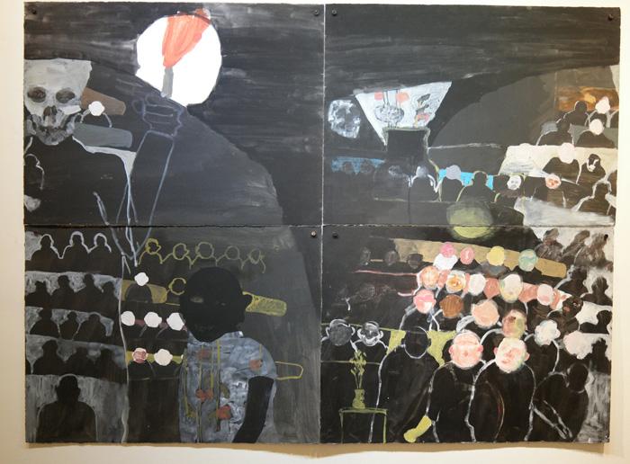 "Jon Campbell, ""Poppy"", acrylic and tempera on paper, 44""x60"", 2009"