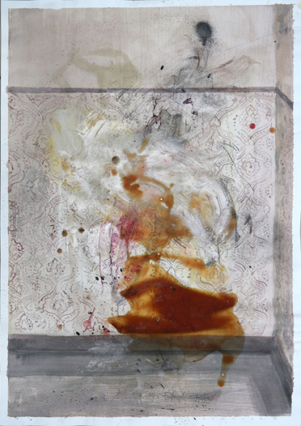 """Laurian Constantin Popa, """"Untitled-69"""", 27""""x20"""", acrylic and latex on paper, 2015, courtesy Molly Krom gallery"""
