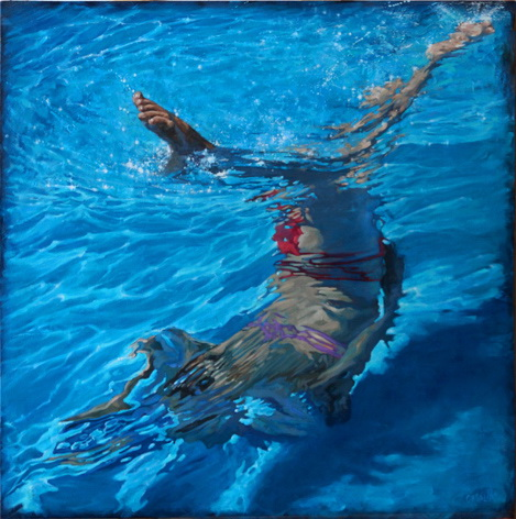 "Angling, oil on canvas, 40"" x 40"", 2015"