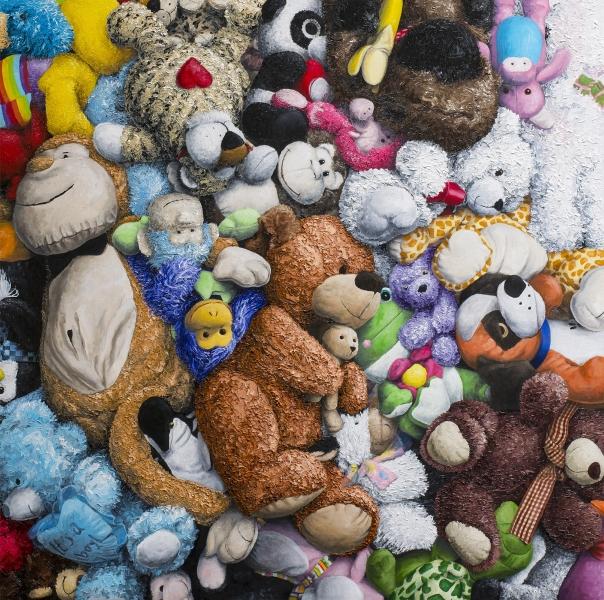 """Brent Estabrook Stuffed Animal Painting-Dream-Team_-oil-on-panel-48"""" x 48"""""""
