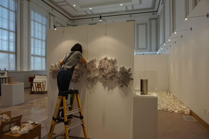 Sun Young Kang installing her show Edgeless Divide 2015 at Susquehanna Art Museum, Harrisburg, PA