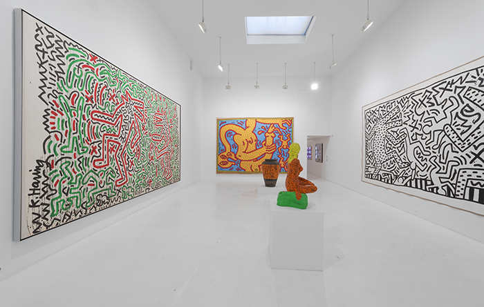 Installation view, Keith Haring, Bombs and Dogs, 2015, Jeffrey Deitch, 76 Grand Street, New York, NY Keith Haring artwork © Keith Haring Foundation Photo: Adam Reich