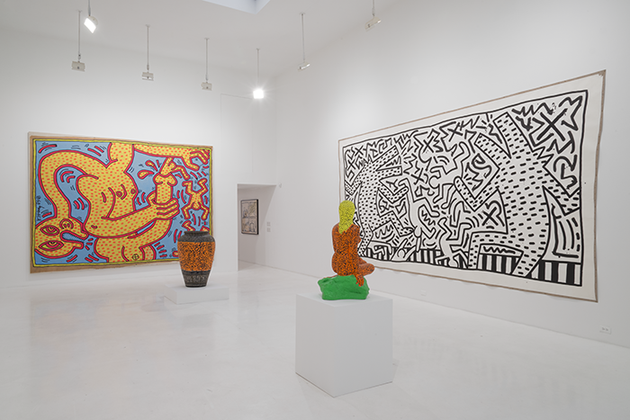 Installation view, Keith Haring, Bombs and Dogs, 2015, Jeffrey Deitch, 76 Grand Street, New York, NY Keith Haring artwork © Keith Haring Foundation Photo: Adam Reich Installation view, Keith Haring, Bombs and Dogs, 2015, Jeffrey Deitch, 76 Grand Street, New York, NY Keith Haring artwork © Keith Haring Foundation Photo: Adam Reich