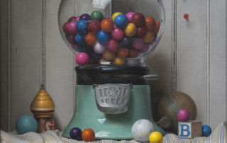 The Gumball Incident, Oil on canvas, 2015, 28 x 15.5 inches, 34.5 x 22.5 inches framed