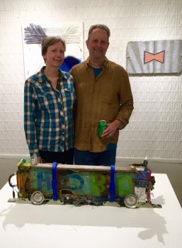 "Jeanne Tremel and Eliot Markell, Box Car Hobo, 2015, Mixed Media on Wood, 10"" x 29"" x 3"""