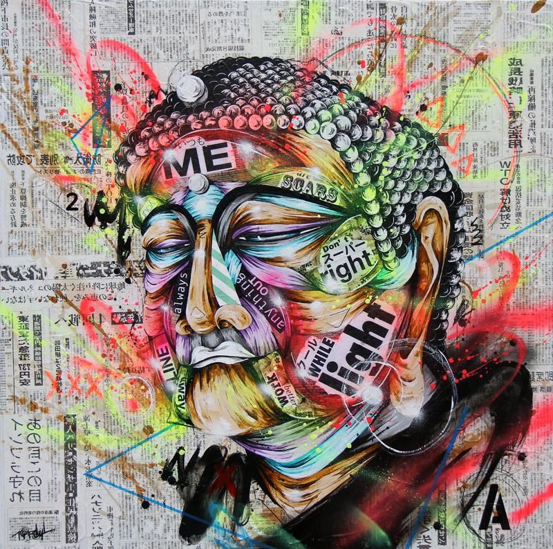 TAKA SUDO Holy, 2015 Mixed media on canvas 36 x 36 in;  91.44 x 91.44 cm