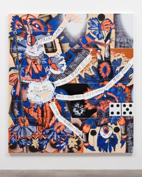 Capricho #3, 2015 Cel-vinyl and lacquer spray over gessoed canvas over wood panel 96 x 86 x 1 5/8 inches (243.8 x 218.4 x 4.1 cm) Copyright Lari Pittman Courtesy Gladstone Gallery, New York and Brussels