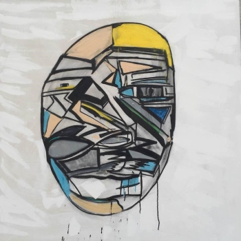 "Carly Ivan Garcia, ""Urban Experience 117 (Head Study)"", 48""x48"", Ink and Acrylic on Canvas, 2016."