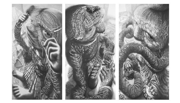 HIDE AND SEEK, triptique, 2016, graphite lead on paper, 210 x 110 cm each drawing