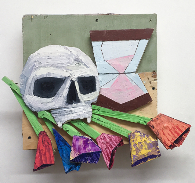 "Memento Mori I, 2016, 18"" x 20"" x 4"", wood, screws, acrylic, oil"