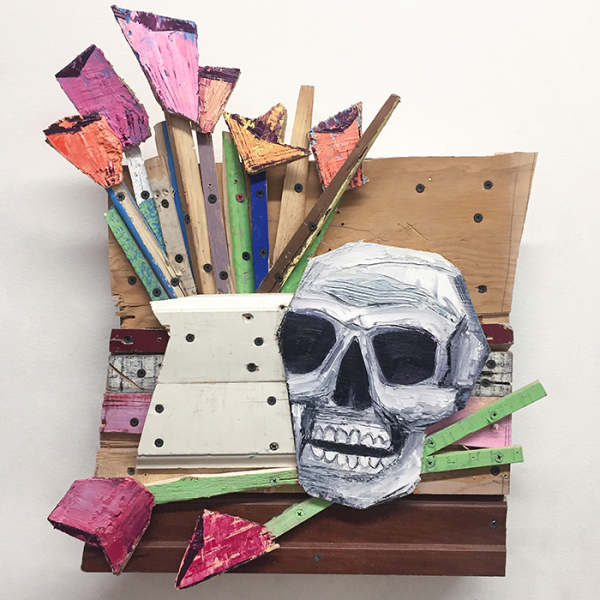 "Memento Mori IV, 2016, 22"" x 18"" x 6"" wood, screws, acrylic, oil"