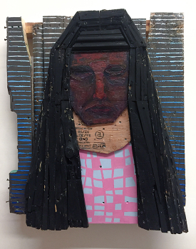 "Oracle, 2016, 31"" x 26"" x 7"", wood, screws, acrylic, oil"