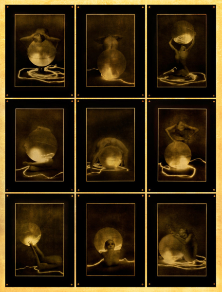 "Lynn Bianchi, Fireball IX (From the Gold Leaf Series), 2010, transparency gilded with 22K gold transferred from silver gelatin print, w:38"" h:51 1/2"""