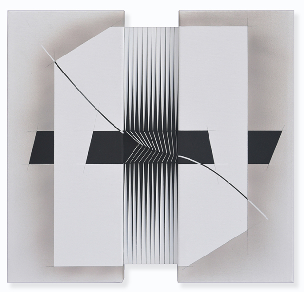 7-Tra gli spazi del nulla, 2015, acrylic and nails on canvas and panel, 60 x 62 cm. - 23.6 x 24.4 in.