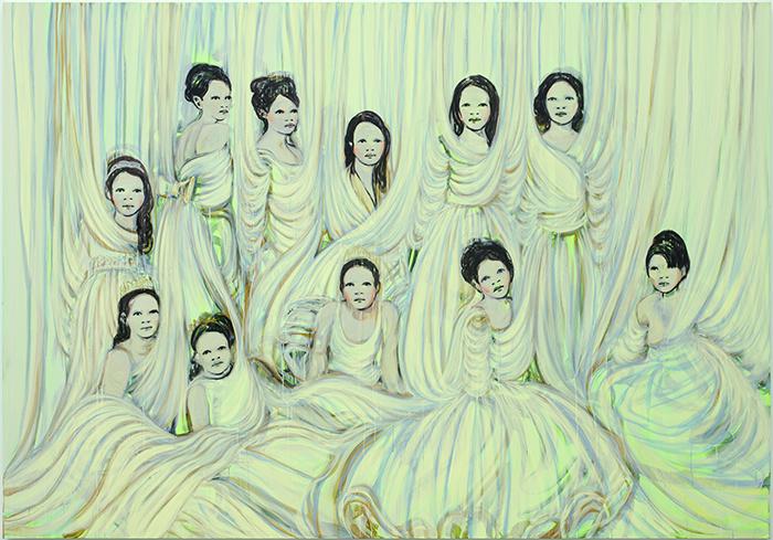 Claire Tabouret Les Déboutantes (vert de jaune), 2014